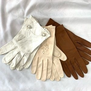 VINTAGE! 3 Pair Beautiful Leather Gloves